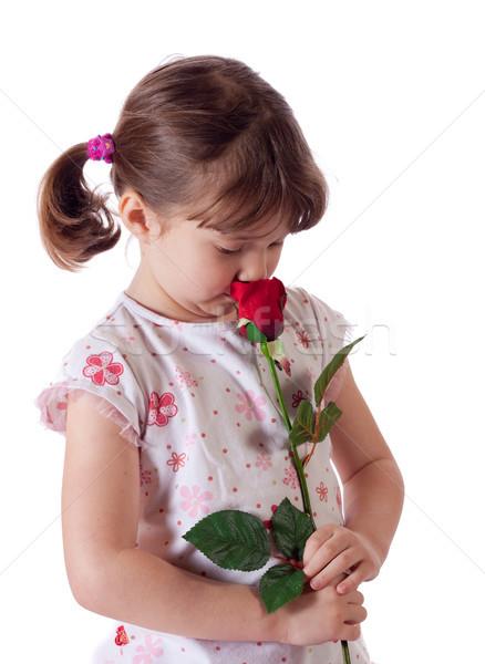 女の子 バラ かわいい 赤いバラ 花 ストックフォト © Talanis