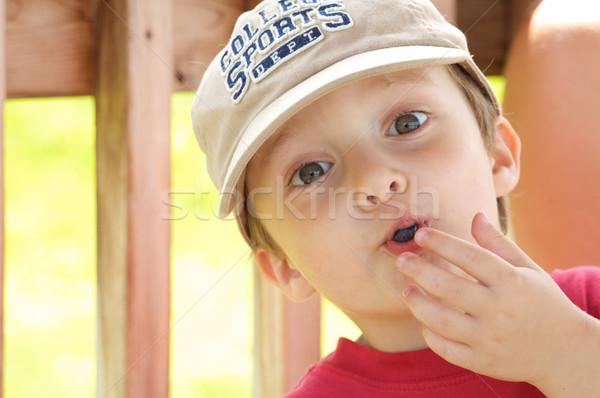 мальчика еды черника Cute мало продовольствие Сток-фото © Talanis