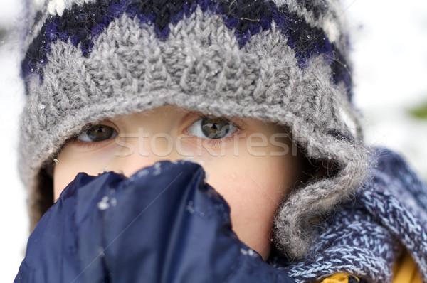 первый снега волнение Cute мало мальчика Сток-фото © Talanis