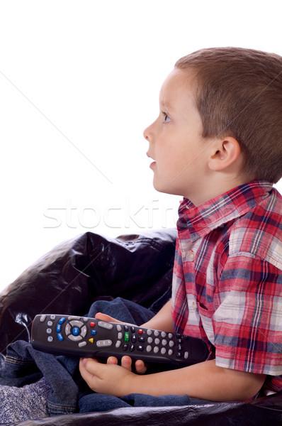 телевизор поколение Cute мало мальчика пультом Сток-фото © Talanis