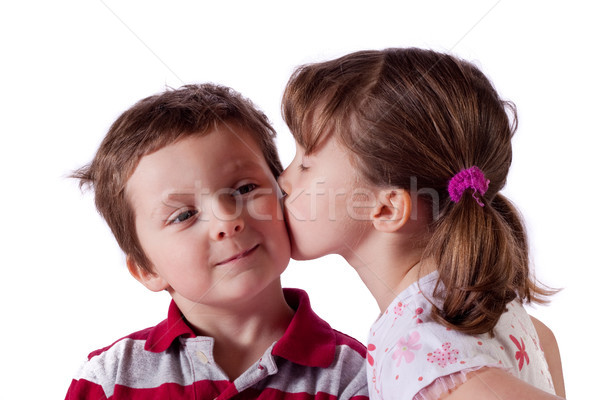 первый поцелуй Cute девочку целоваться мальчика Сток-фото © Talanis