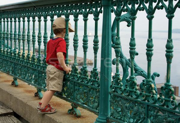 Сток-фото: мало · мальчика · забор · Постоянный · только · древесины