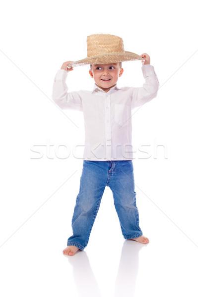 Mały chłopca hat taniec uśmiech funny Zdjęcia stock © Talanis