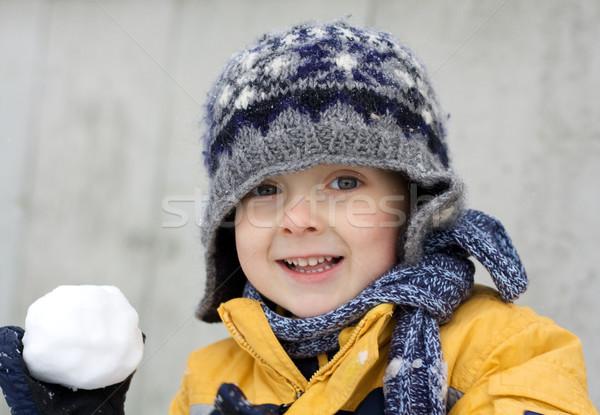 Pierwszy śniegu podniecenie cute mały chłopca Zdjęcia stock © Talanis