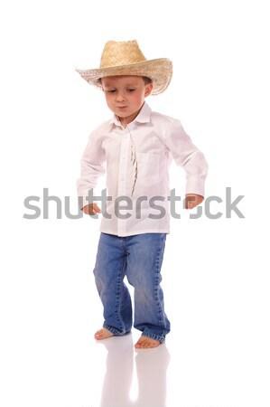мало Cowboy мальчика ковбойской шляпе танцы улыбка Сток-фото © Talanis