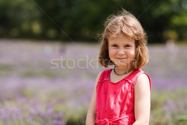 девушки Cute девочку цветок области Сток-фото © Talanis