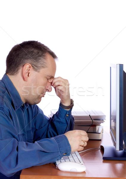 疲れ コンピュータ 男 男 インターネット 作業 ストックフォト © Talanis