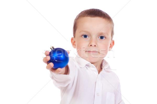 мало Рождества мальчика Cute мяча синий Сток-фото © Talanis