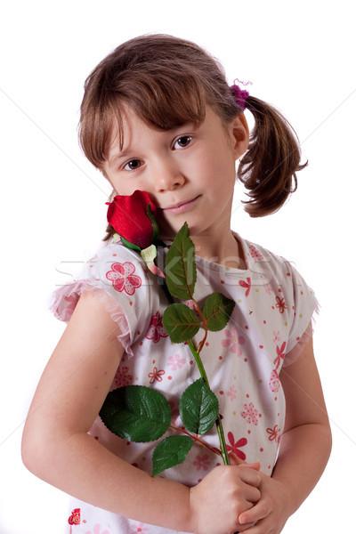 Cute девочку красную розу цветок улыбка Сток-фото © Talanis