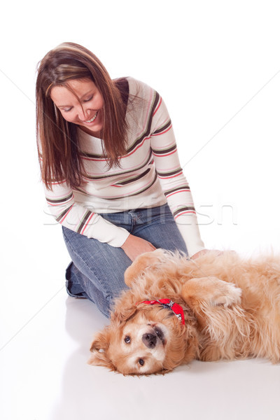 Fiatal nő golden retriever aranyos fajtiszta nő szeretet Stock fotó © Talanis