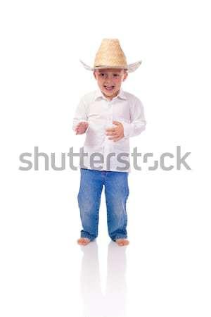 Mały chłopca hat śmiechem funny młodych Zdjęcia stock © Talanis