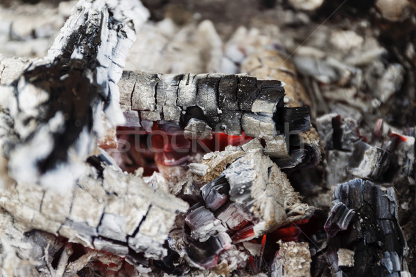 Remains of wood coal and ashes after the combustion of firewood. Stock photo © TanaCh