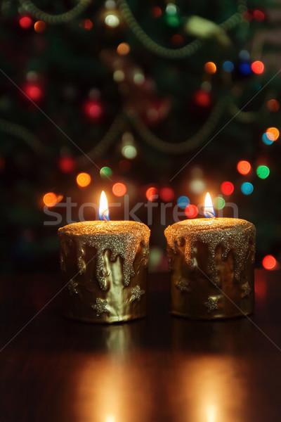 Natal vela árvore de natal luzes cópia espaço Foto stock © TanaCh