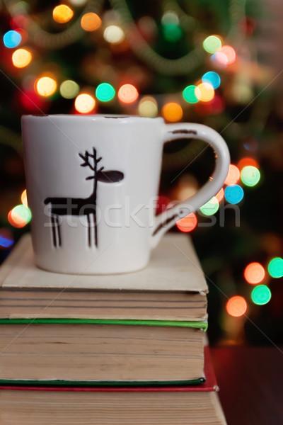 Stockfoto: Christmas · viering · beker · geschenkdoos · boeken · bokeh