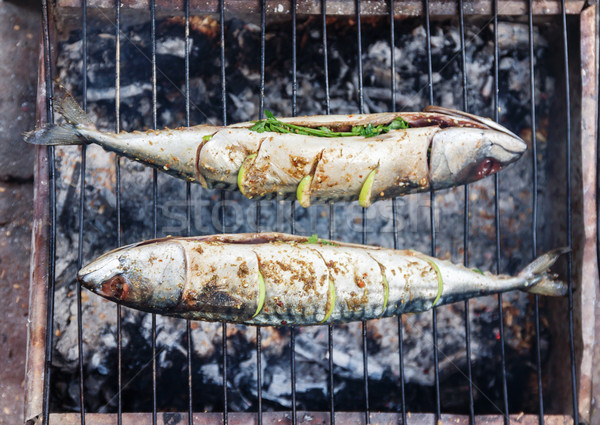 Grilled fish with spices on fire close up. Grilling fish  dorado Stock photo © TanaCh