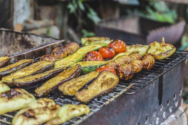 焼き 料理 表示 パーティ 火災 ストックフォト © TanaCh