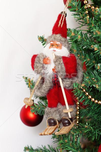 Kerstboom speelgoed kerstman geïsoleerd witte achtergrond Stockfoto © TanaCh