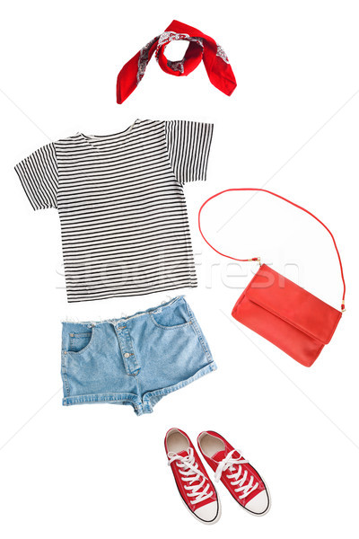 woman clothes collage on white, flat lay, top view Stock photo © TanaCh