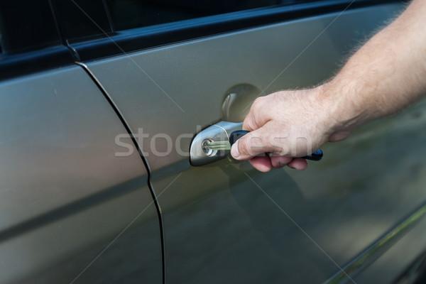 ストックフォト: 手 · 車 · ドアの鍵 · ビジネス · 男 · セキュリティ
