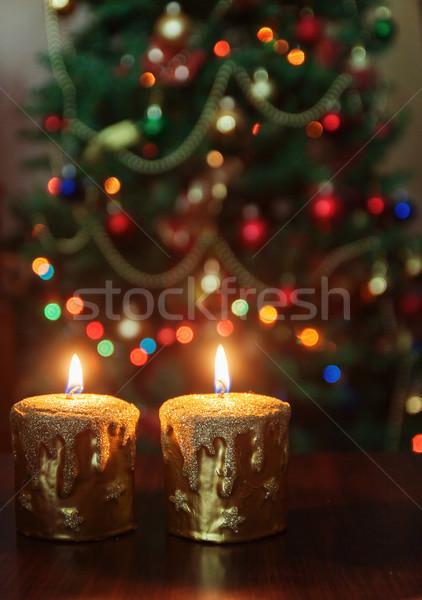 クリスマス キャンドル クリスマスツリー ライト コピースペース ストックフォト © TanaCh