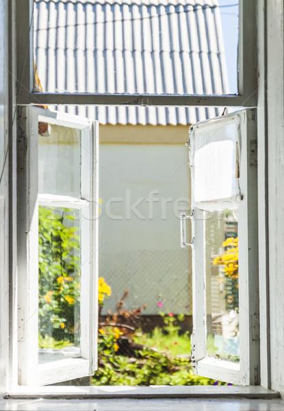Görmek eski kırsal pencere güneşli yaz Stok fotoğraf © TanaCh
