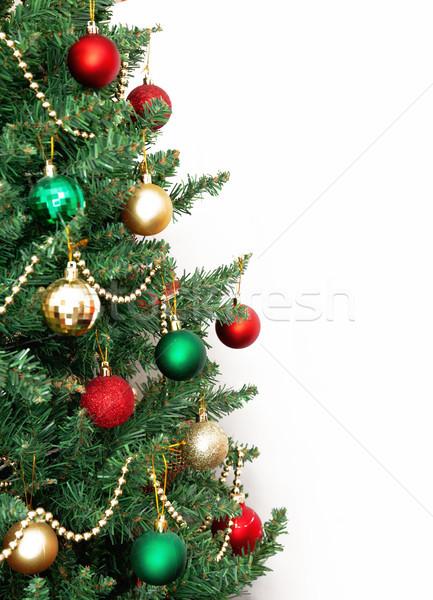 Stockfoto: Glas · bal · decoraties · kerstboom · sneeuw · frame