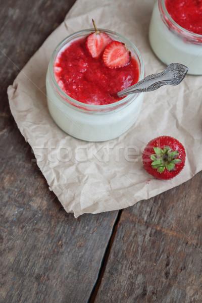 Yoğurt reçel sos cam kova taze Stok fotoğraf © TanaCh