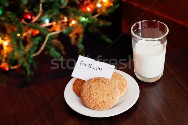 Сток-фото: Рождества · Cookies · молоко · сведению · свет