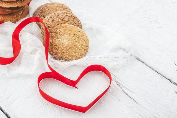 Cookies melk fles witte houten hart Stockfoto © TanaCh