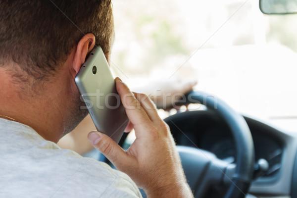 男 話し 携帯電話 運転 車 電話 ストックフォト © TanaCh