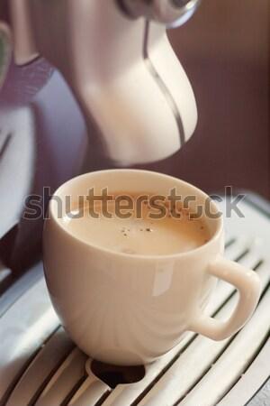 Weiß Tasse stehen Gitter Kaffeemaschine Kaffee Stock foto © TanaCh