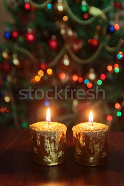 Christmas kaars kerstboom lichten exemplaar ruimte Stockfoto © TanaCh