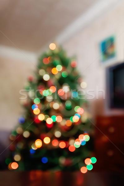 Abstrato natal luzes árvore festa verde Foto stock © TanaCh