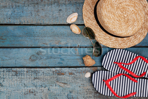 Still life of different items for relaxing on the beach, rubber  Stock photo © TanaCh