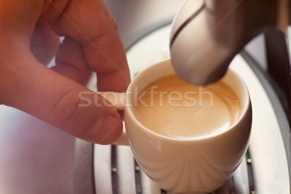 Close up view of the hand of a man working in a coffee house pre Stock photo © TanaCh