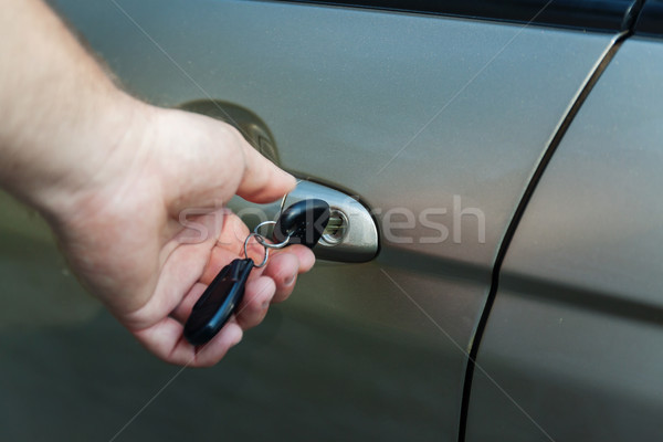 Mão carro chave da porta negócio homem segurança Foto stock © TanaCh