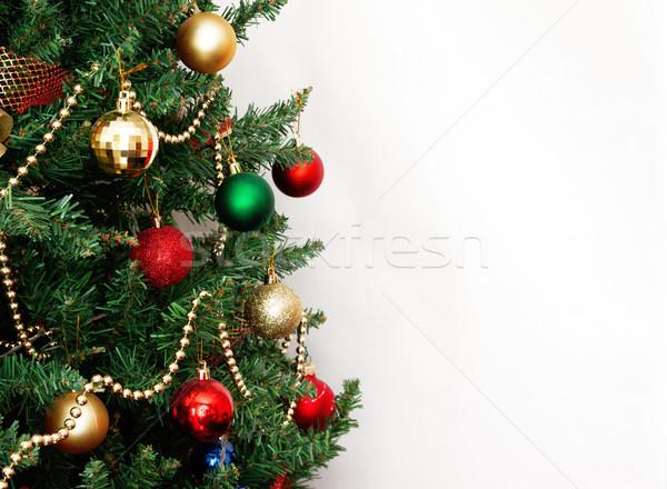 Vidro bola decorações árvore de natal neve quadro Foto stock © TanaCh
