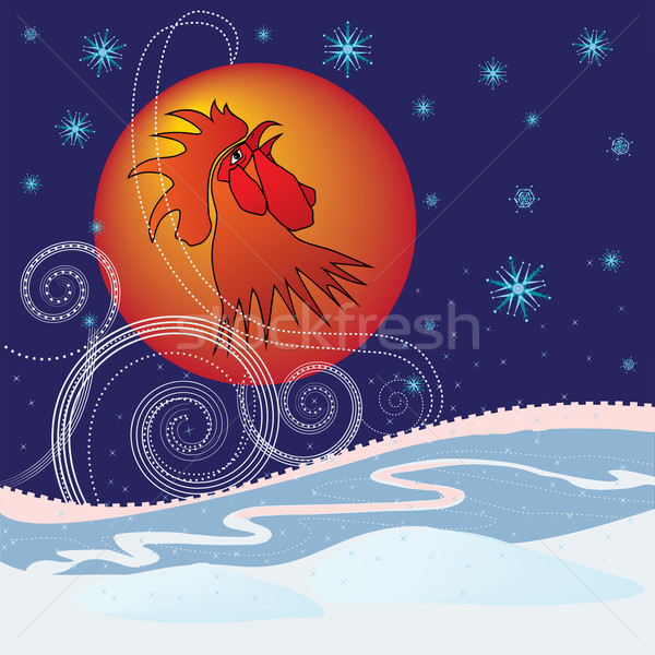 new year  rooster Stock photo © tanais