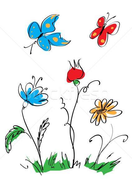 flowers and butterflies Stock photo © tanais