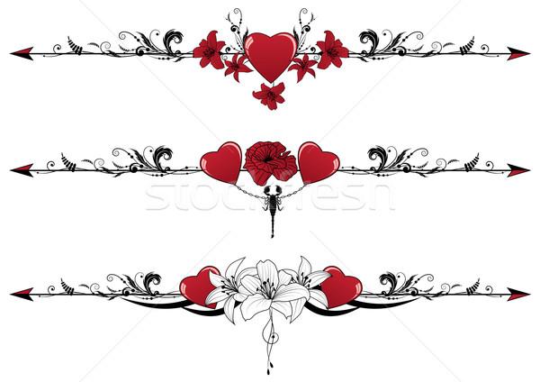 set of Valentine  borders Stock photo © tanais