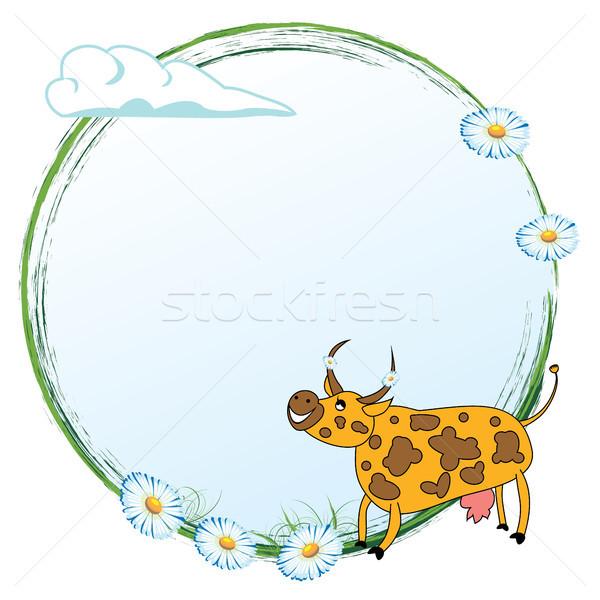 Tehén legelő vektor keret vicces virágok Stock fotó © tanais