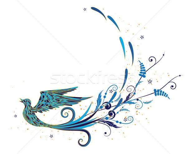 Kék madár vektor stilizált zöldség elemek Stock fotó © tanais
