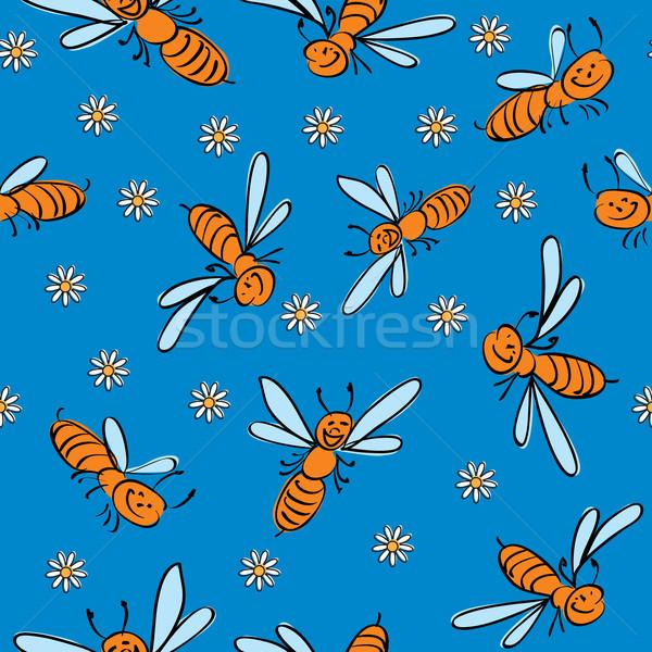 Zdjęcia stock: Funny · pszczół · bezszwowy · kwiat · baby · tle