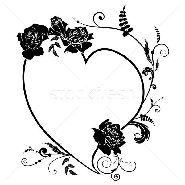 heart and rose, frame Stock photo © tanais