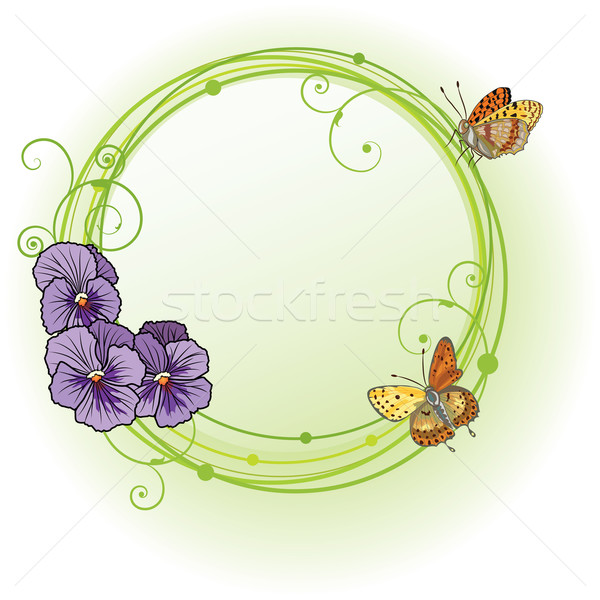vector frame with violet pansies Stock photo © tanais