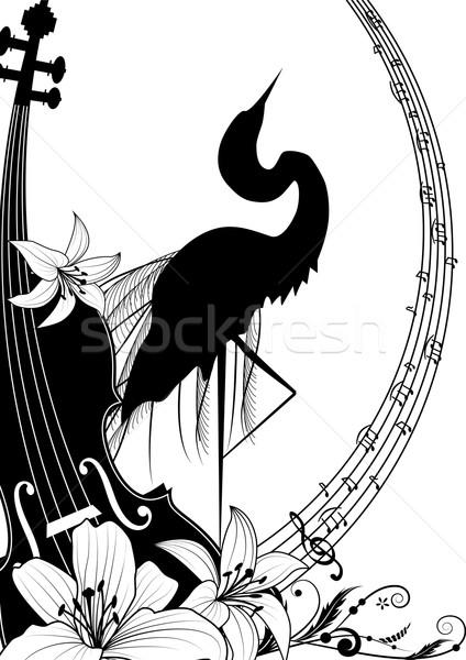 скрипки цапля черно белые цветами дизайна фон Сток-фото © tanais