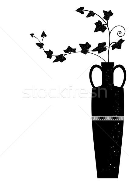 Váza borostyán ágak feketefehér színek terv Stock fotó © tanais
