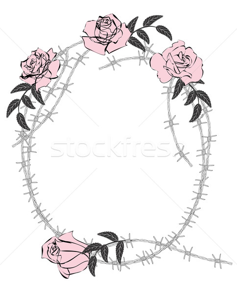 roses and barbed wire Stock photo © tanais
