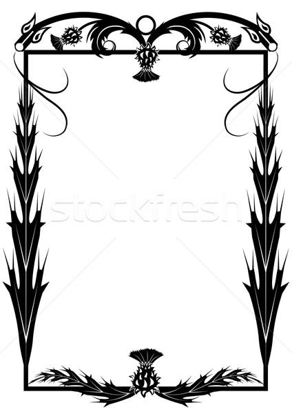 フレーム ベクトル 花 黒白 色 ストックフォト © tanais