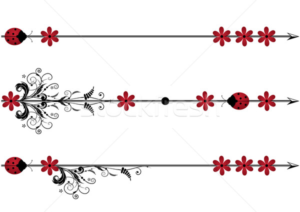 vector vignette with ladybird,flowers and arrow Stock photo © tanais